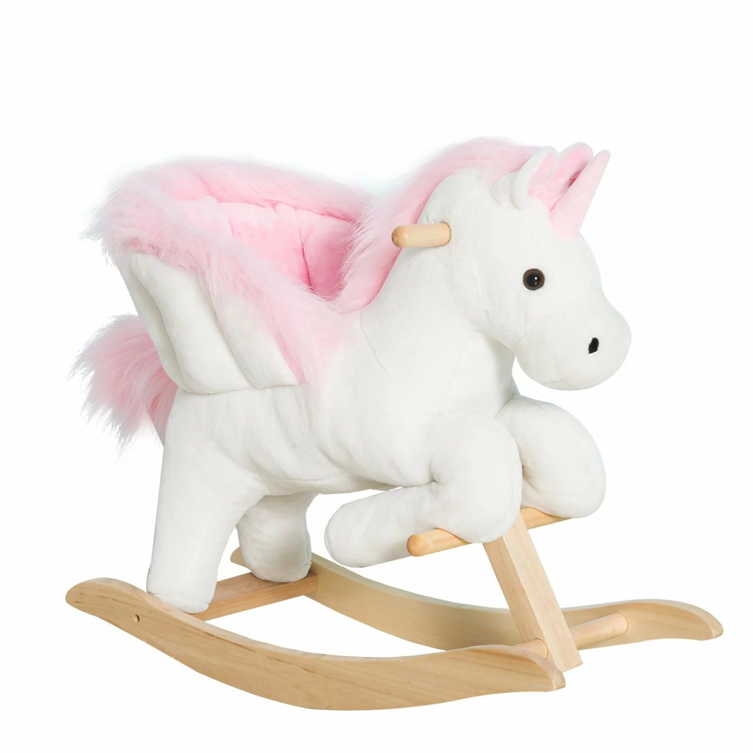 children s stuffed animal chairs how much fabric do i need to reupholster a chair aosom qaba kids plush toy rocking horse unicorn
