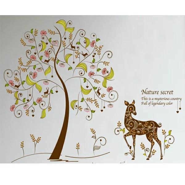 BO雜貨【YV3856-1】新款壁貼 無痕創意壁貼 居家裝飾 室內佈置 黃色系 圖騰樹 鹿XL8152 | BO雜貨 - Rakuten樂天市場
