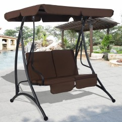 Swing Chair Seat Pier One Chairs Dining Costway Brown 2 Person Canopy Patio Hammock Cushioned Furniture Steel 0