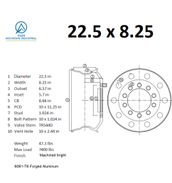 22 5 x 8 25 truck wheel rims forged aluminum alcoa classic style uniracing 16x 7 [ 1024 x 1024 Pixel ]