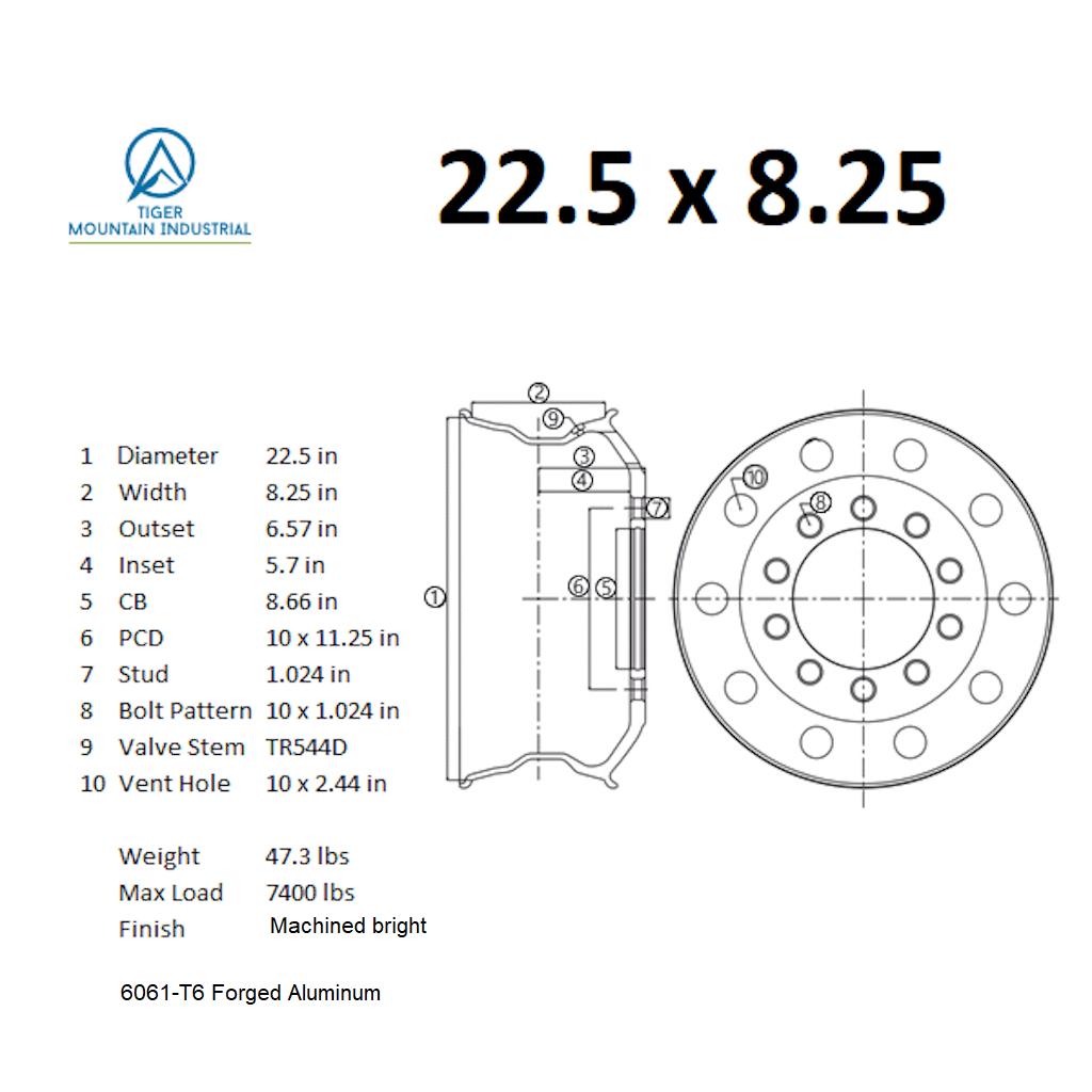 hight resolution of 22 5 x 8 25 truck wheel rims forged aluminum alcoa classic style uniracing 16x 7