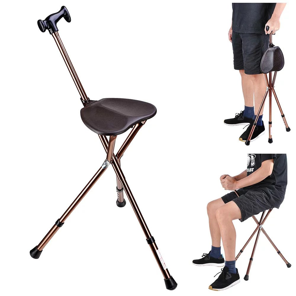 walking cane chair lazy boy recliner chairs harvey norman yescomusa folding stick with seat adjustable height tripod hiking aluminium portable 0