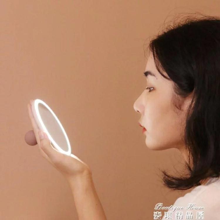 化妝燈 手持鏡便攜鏡子女充電隨身led補光鏡帶燈補妝小號折疊化妝鏡【雙十二秒殺】 | 夏沐生活 - Rakuten樂天市場