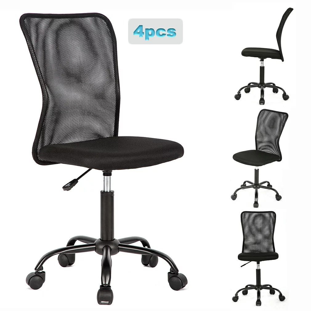 Ergonomic Chair Set Of 4 Mid Back Mesh Office Chair Computer Task Swivel Seat Ergonomic Chair