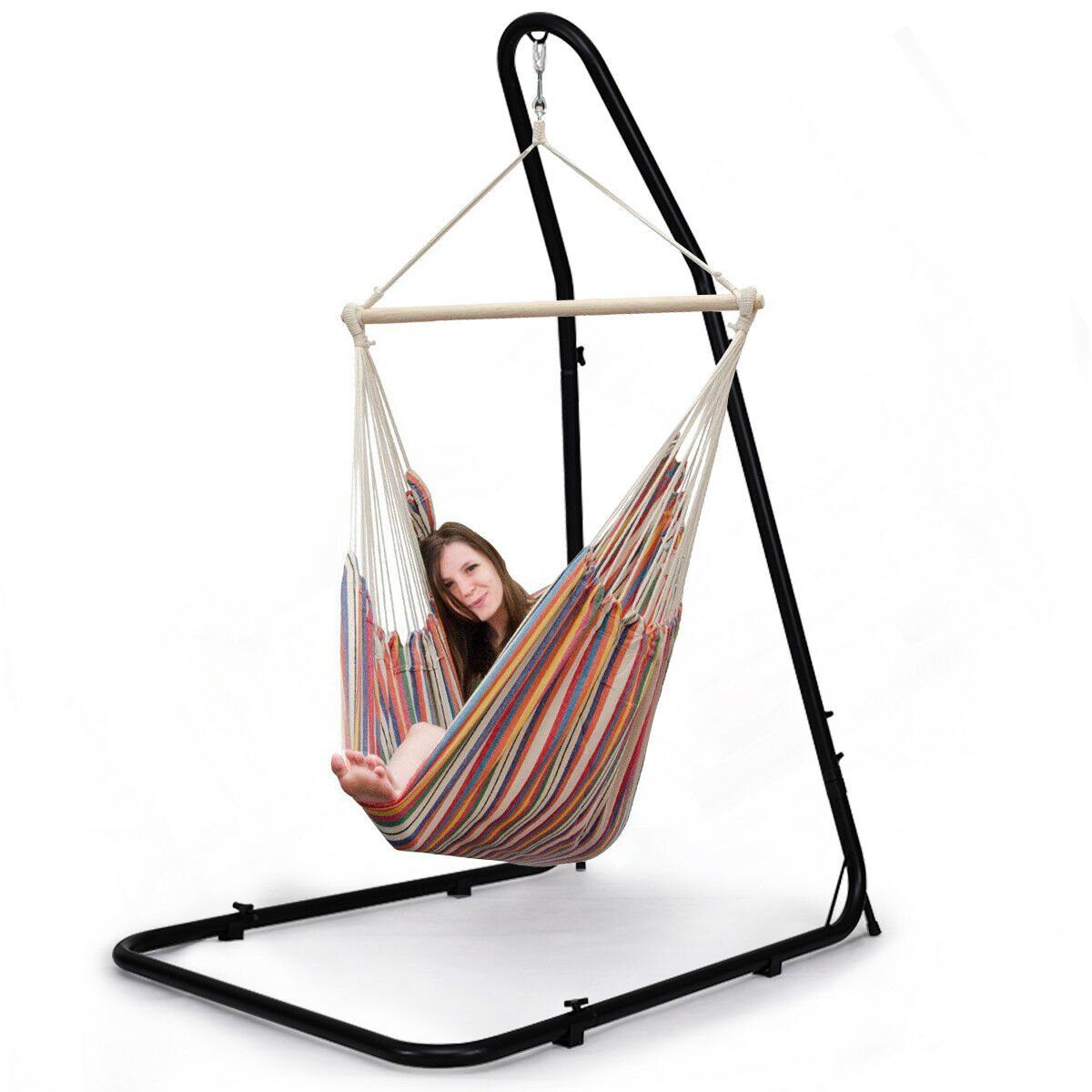 hanging chair stand upholstered kitchen chairs with casters costway adjustable hammock for hammocks swings steel frame 0