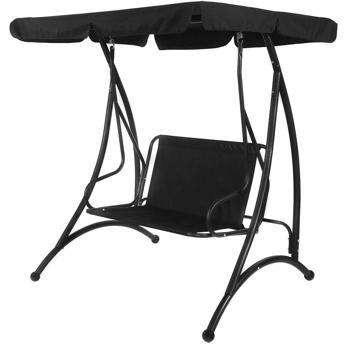 swing chair metal plastic school chairs costway black 2 person canopy patio hammock seat cushioned furniture steel