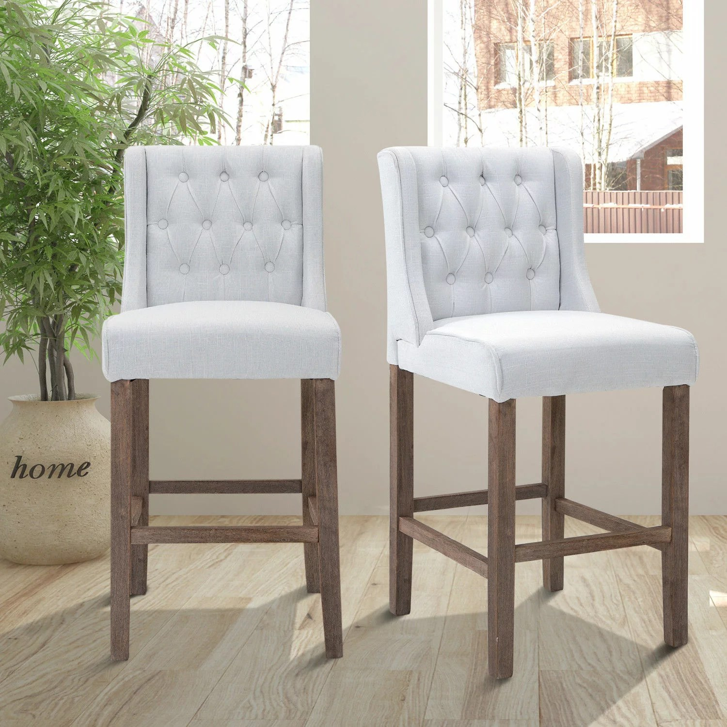 tufted wingback dining chair wedding cover hire packages aosom homcom 40 quot counter height armless
