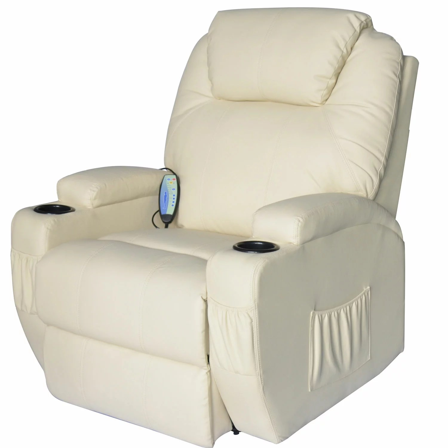 heated chair cover for recliner global upholstery 69a7019 aosom homcom massage pu leather 360 degree swivel with remote cream 0