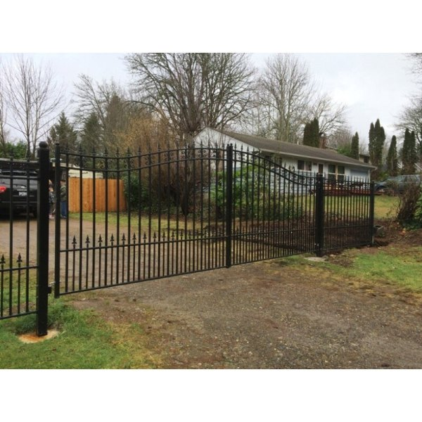 Aleko Products Iron Dual Swing Gate St. Petersburg Style Driveway Gates 12'
