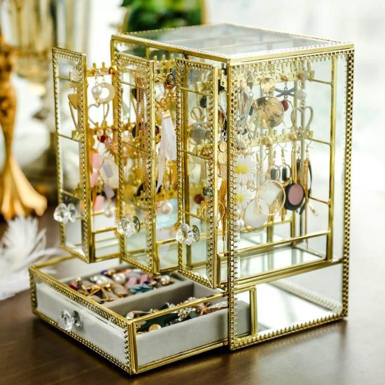 首飾盒 復古玻璃珠寶首飾盒項錬架耳環耳釘掛架首飾收納收拾桌面整理架   麥兜小屋 - Rakuten樂天市場