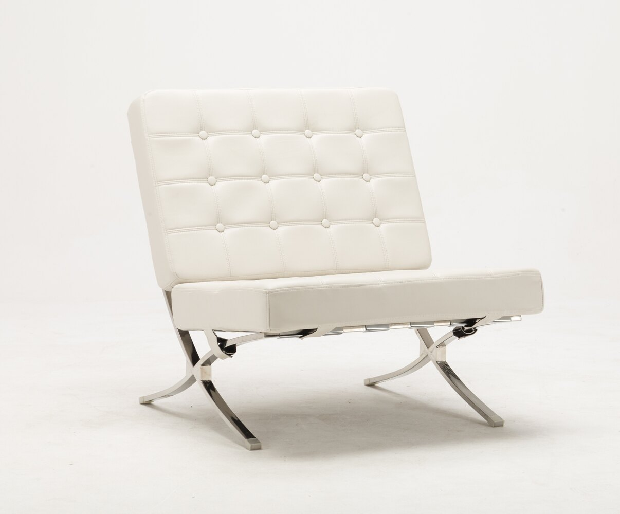 steel lounge chair spandex banquet covers for sale mcombo balcony modern faux leather leisure beach white stainless frame 7106