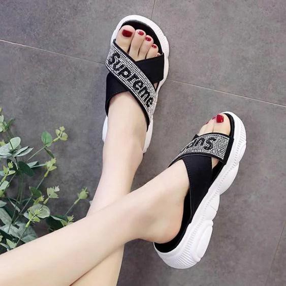 拖鞋女外穿新款夏季女士沙灘厚底網紅時尚人字涼拖鞋夏天 | 果果輕時尚 - Rakuten樂天市場