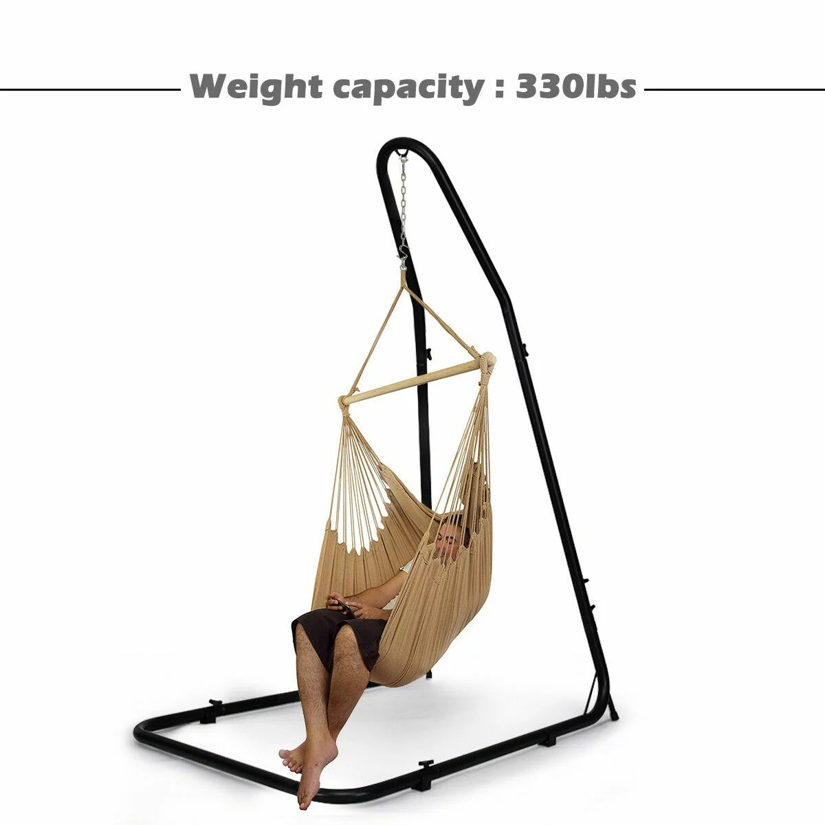 hammock chair stand adjustable covers and organza bows costway for hammocks swings hanging chairs steel frame 6
