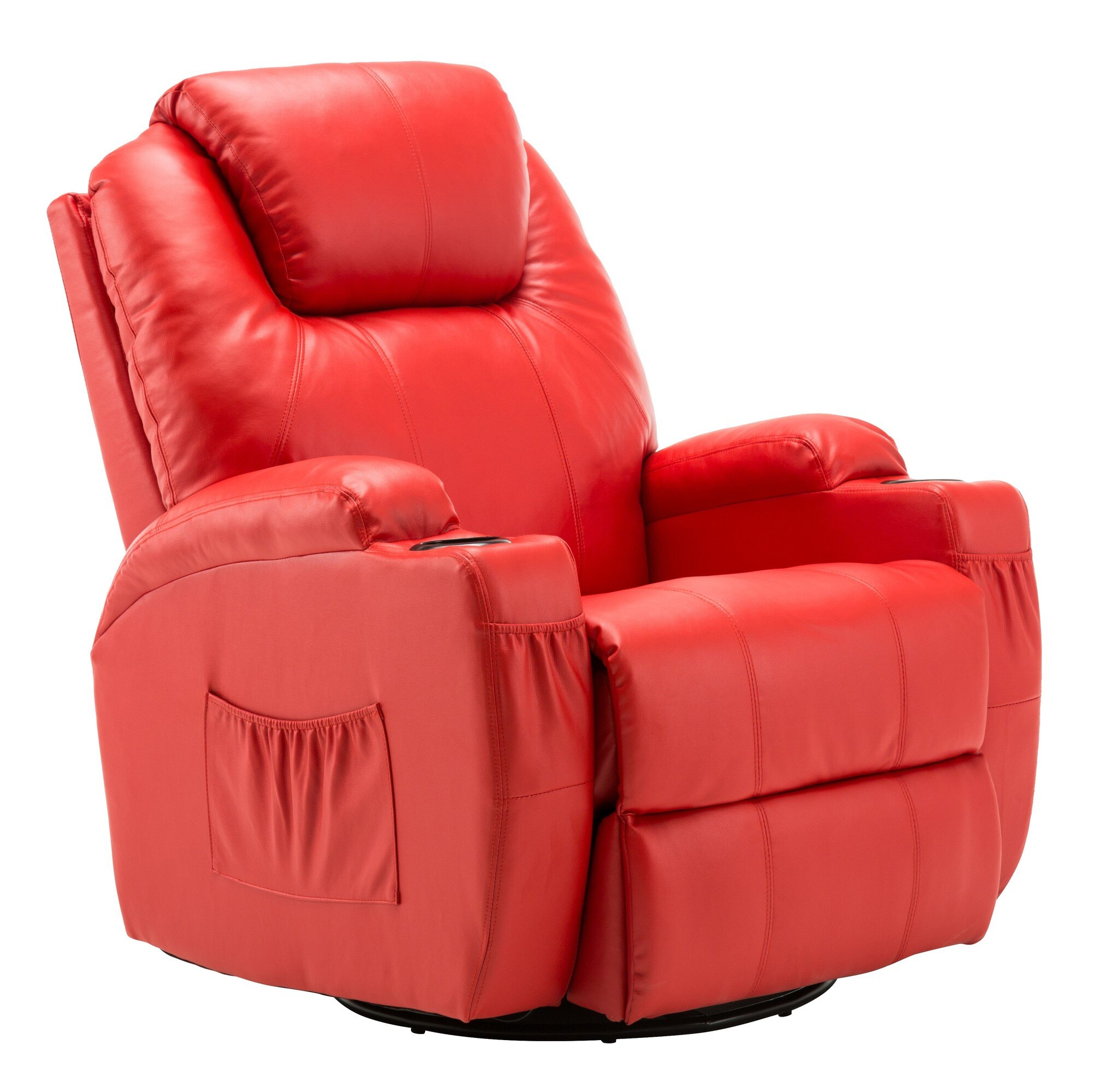 Swivel Rocker Recliner Chair Modern Massage Recliner Chair Vibrating Sofa Heated Pu Leather Ergonomic Lounge 360 Degree Swivel Rocker 8031