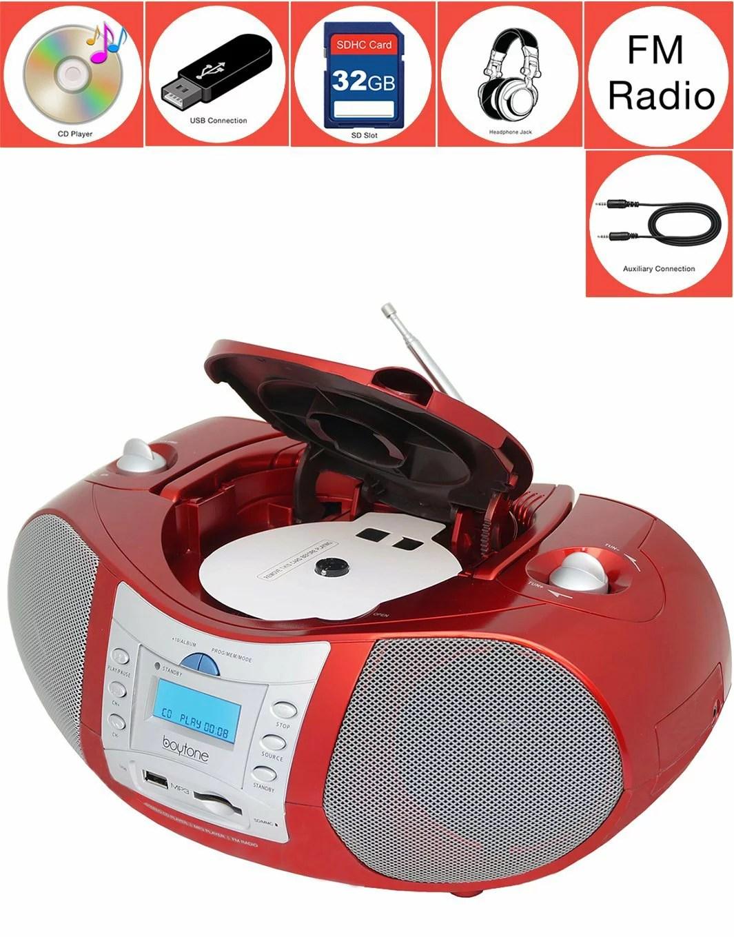 hight resolution of boytone bt 6r boombox cd player usb sd mmc slot fm radio auxiliary