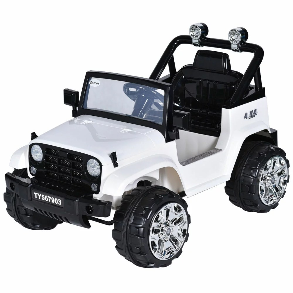medium resolution of costway 12v kids ride on truck jeep car rc remote control w led lights music