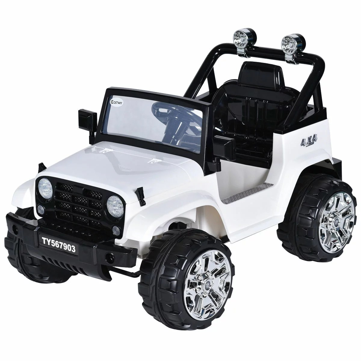 hight resolution of costway 12v kids ride on truck jeep car rc remote control w led lights music