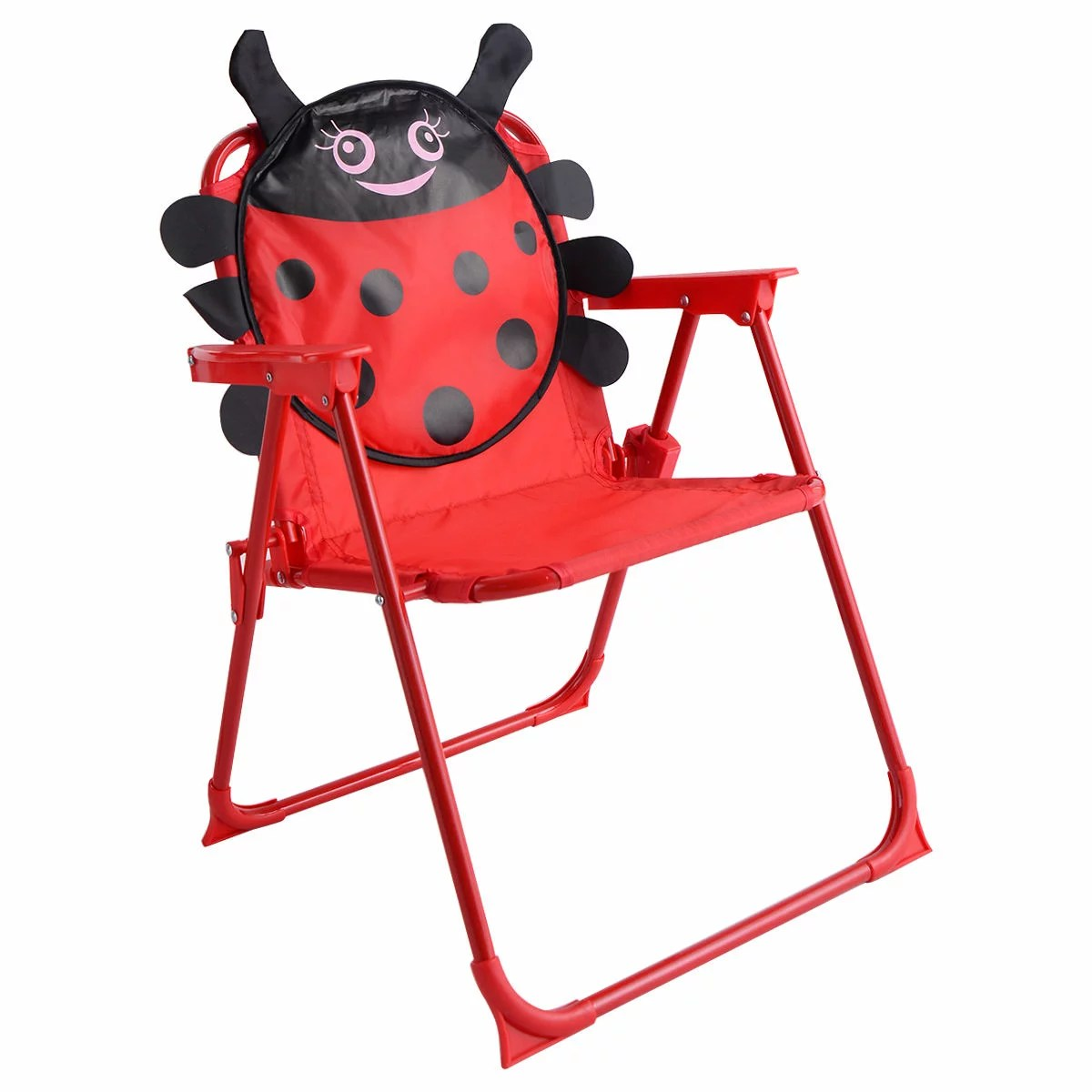 folding chair with umbrella revolving backrest costway kids patio set table and 2 chairs w beetle outdoor garden yard