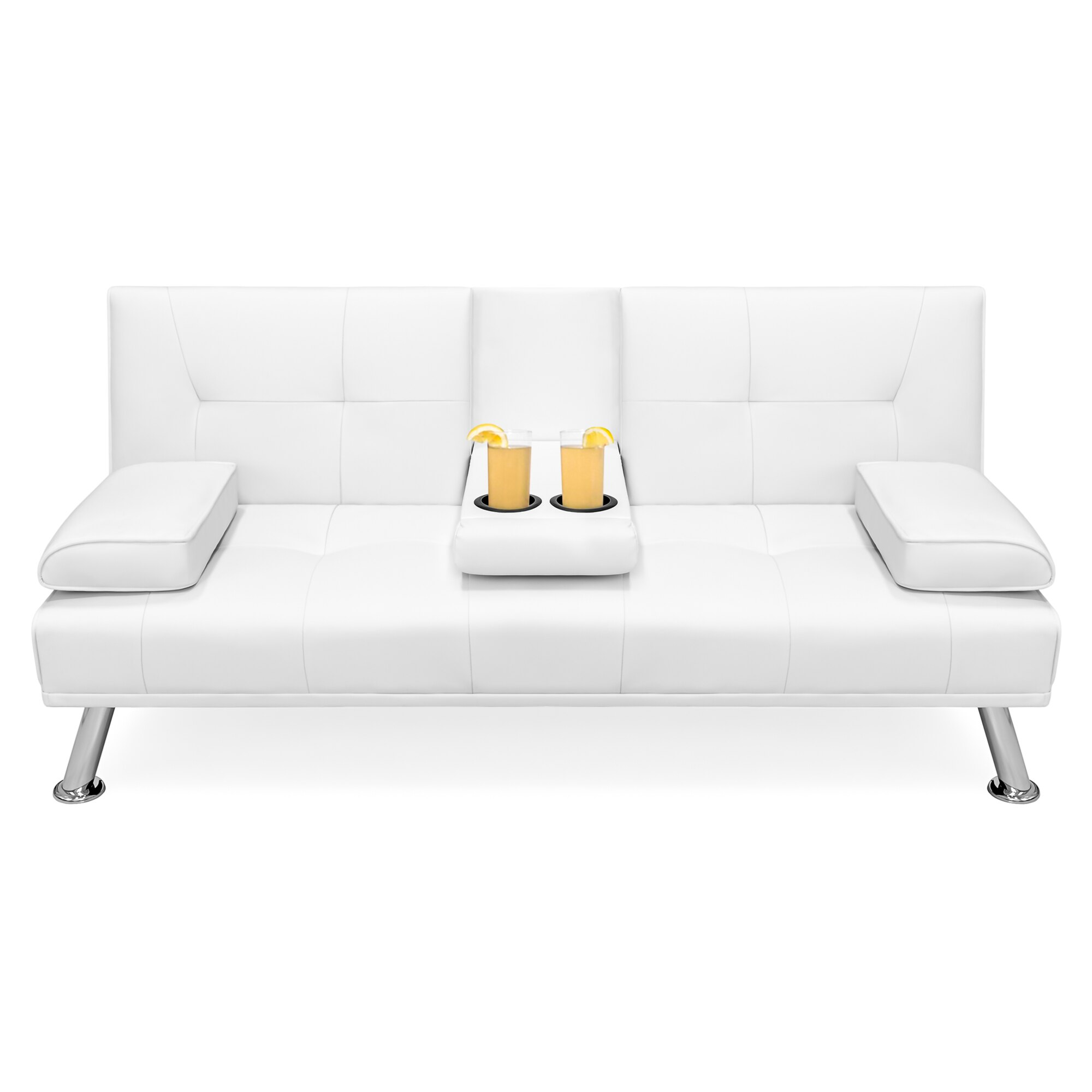 sofa armrest with cup holder white microfiber reclining bestchoiceproducts best choice products modern faux