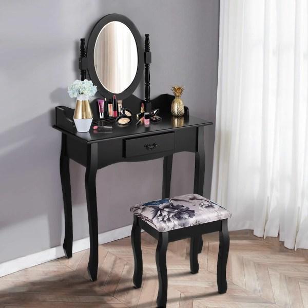 Costway Vanity Wood Makeup Dressing Table Stool
