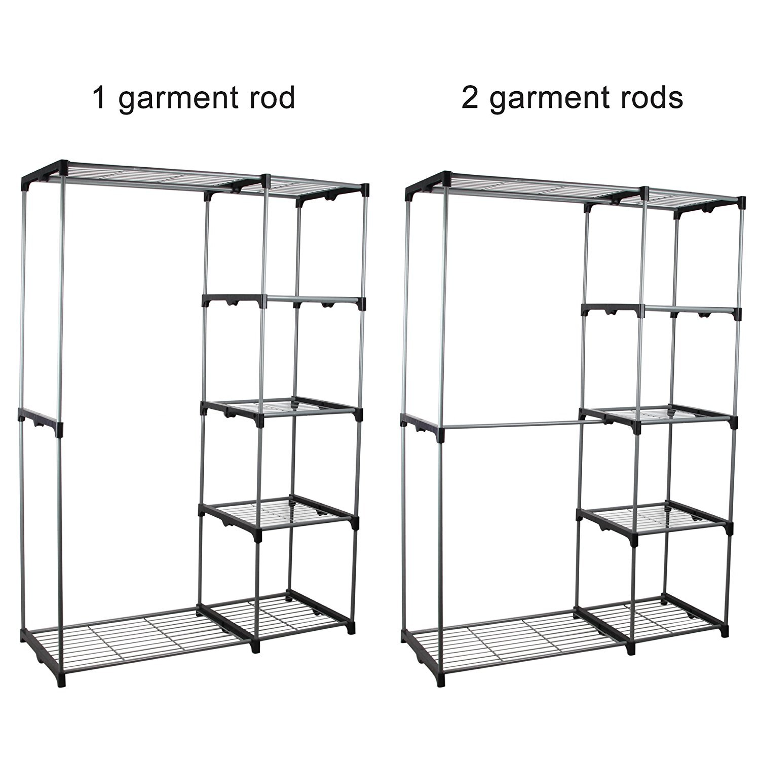 New Shining Image Double Rod Portable Clothes Storage Rack Freestanding Closet Wardrobe With