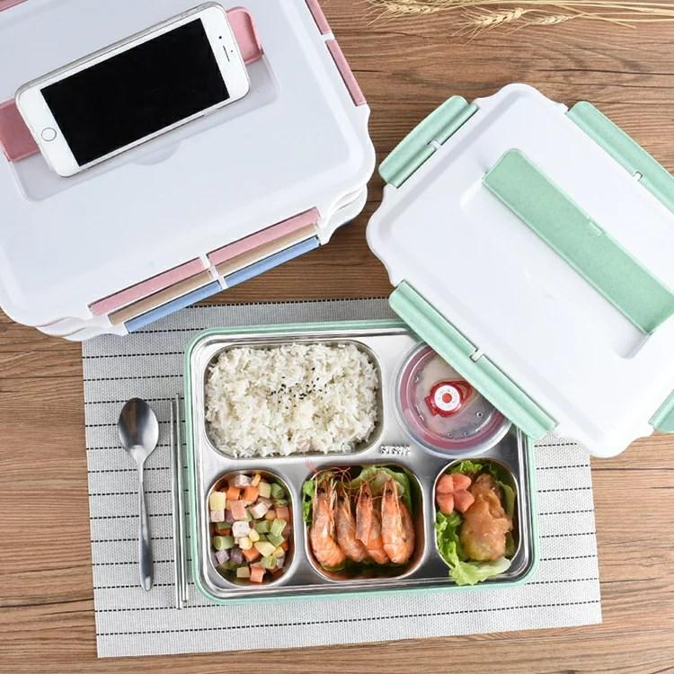 電熱飯盒 304不銹鋼電熱飯盒食堂簡約學生便當盒帶蓋韓國學生餐盒分格餐盤 - 名創優選 | Rakuten樂天市場