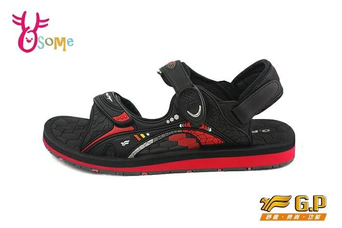 GP涼鞋 男款 立體刻紋磁扣兩穿防水涼鞋I6670#黑紅 OSOME奧森鞋業   OSOME奧森鞋業 - Rakuten樂天市場