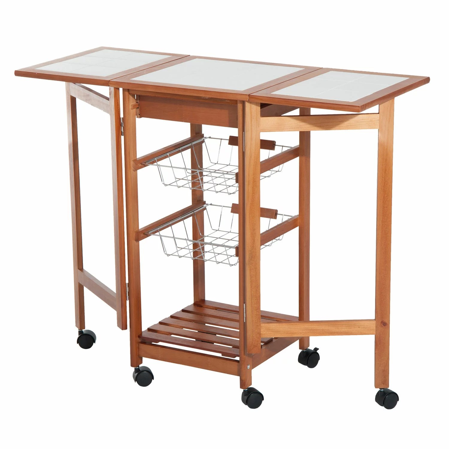 drop leaf kitchen cart extra deep sink aosom homcom rolling tile top wooden trolley storage 6