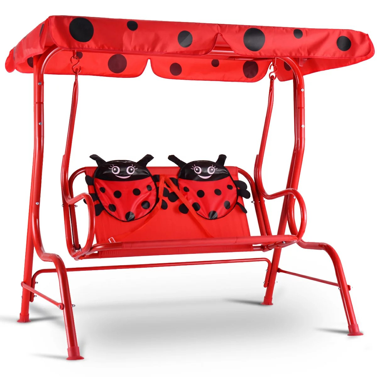 kids chair with canopy wing slip covers costway patio swing children porch bench 2 person yard furniture red 0