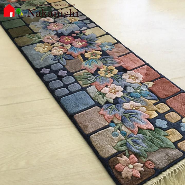 blue kitchen rugs and bath magazine 坎特伯雷 地毯 碎布 框 kamachi 长垫子 厨房垫子 绢 丝绸 100 120段约37 123cm丰富多彩的粉红 蓝色 绿色独特的个性对象