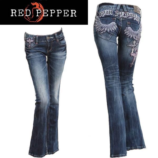 kitss: RED PEPPER粗斜紋布女士線程紙牛仔褲緊湊的長筒靴cut翅膀三倍交叉#5672 | 日本樂天市場