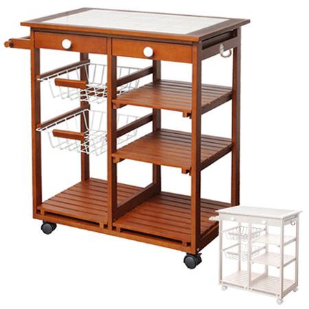 kitchen cart with drawers cabinets for sale craigslist livingut 厨房推车钢篮马车宽的木头脚轮厨房北欧瓷砖线网格抽屉 日本