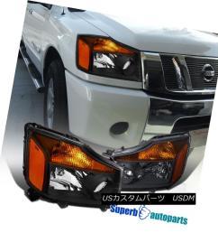 fit 2004 2015 nissan titan 2004 2007 armada pickup chrome headlights amber headlights [ 926 x 926 Pixel ]