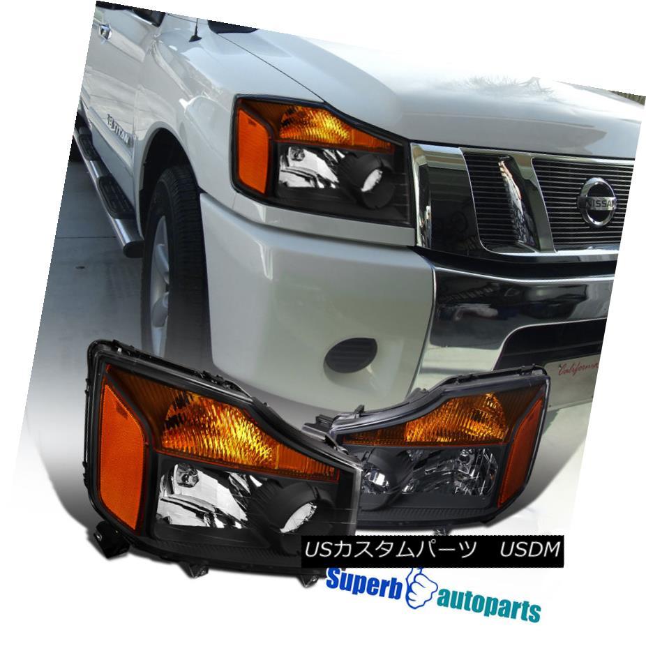 hight resolution of fit 2004 2015 nissan titan 2004 2007 armada pickup chrome headlights amber headlights