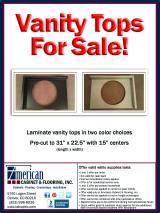 American Cabinet & Flooring has pre-cut laminate vanity tops FOR SALE!