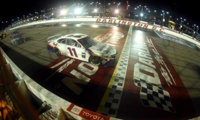 Denny Hamlin Wins a Wild Rain-Shortened Race on a Wednesday in Darlington