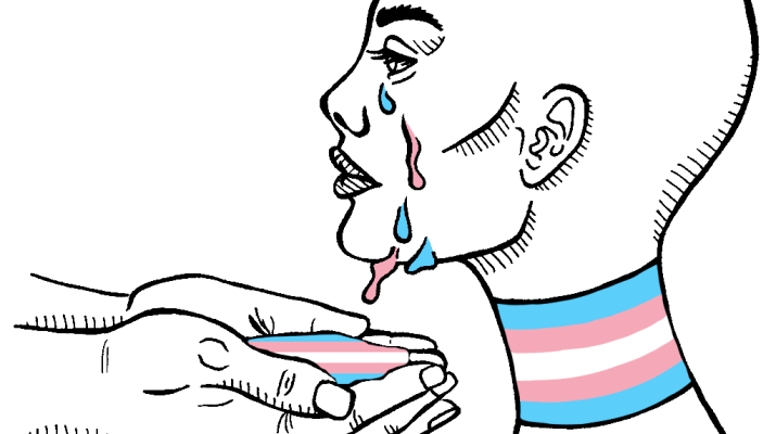 A drawing of a person with a trans flag necklace. They are crying white, blue, and pink tears.