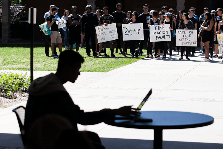 Student's is pictured in foreground on laptop, while protests behind him demand curriculum reform.
