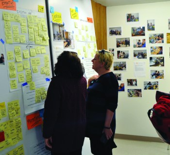 Two women are looking at an empathy map in The Hive.