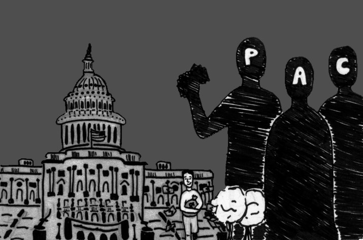"A black and white graphic of the Capitol Building on the left, three people labelled ""P,"" ""A"" and ""C"" respectively on the left and a person in the middle holding a bag of money."