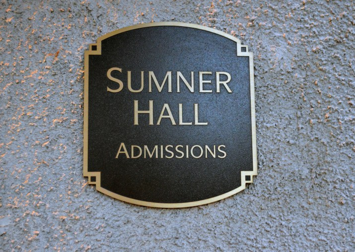 The Sumner Hall Admissions plaque.