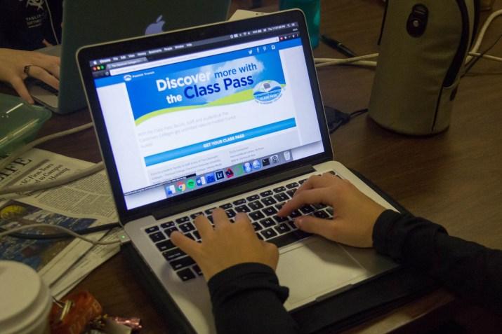 laptop showing the class pass website