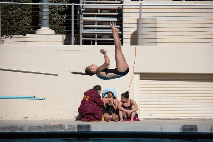 A diver flips in the air