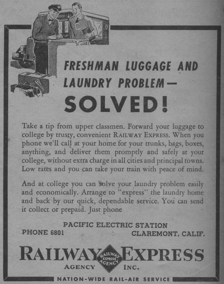 "An advertisement from the Railway Express Agency, with the title, ""Freshman Luggage and Laundry Problem — Solved!"" in capital letters."