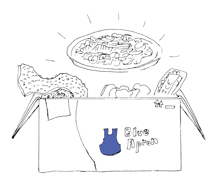 A hand-drawn box of food from Blue Apron