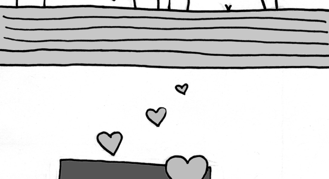 A black and white graphic of two people lying next to each other in bed (top) and having sex (bottom).