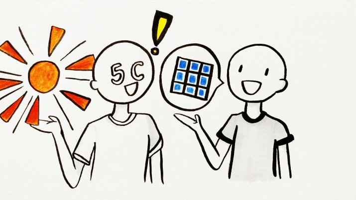 A graphic of two people discussing solar panels.