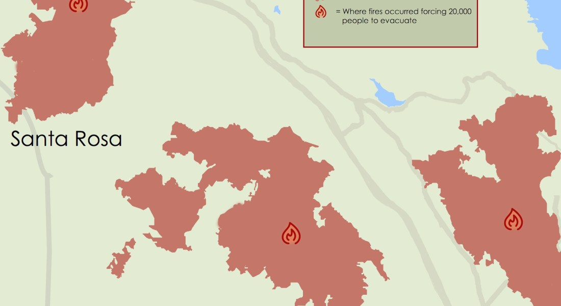 A map showing the regions of the California wildfires.