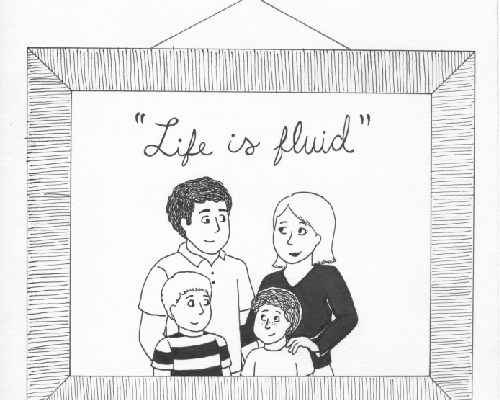 "A family photo frame with the words, ""Life is fluid."""