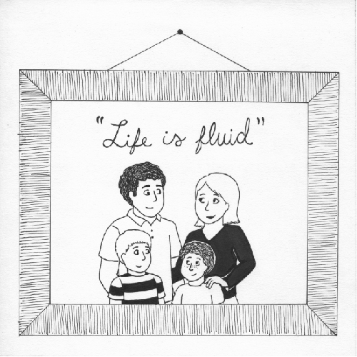 """A family photo frame with the words, """"Life is fluid."""""""
